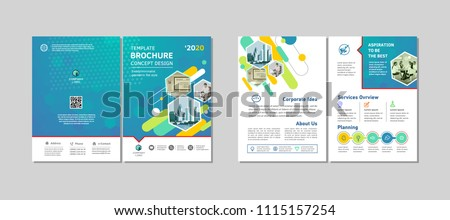 Bi-fold brochure creative design. Multipurpose template with cover, back and inside pages. Trendy minimalist flat geometric design. Vertical a4 format.