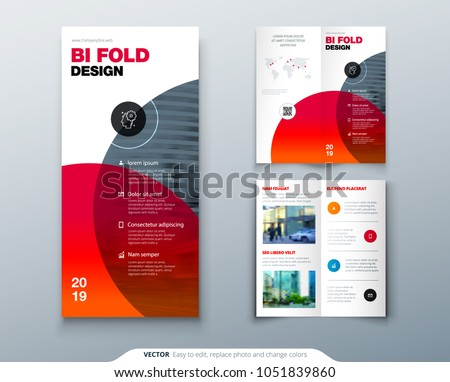 Modern two fold brochure template download free vector art stock bi fold brochure design business template for two fold flyer layout with modern circle saigontimesfo