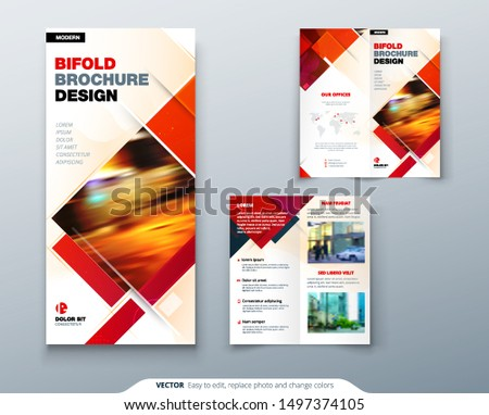 Bi fold brochure design with square shapes, corporate business template for bi fold flyer. Creative concept folded flyer or brochure.