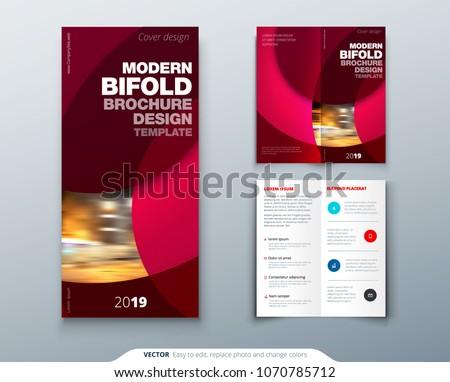 Bi fold brochure or flyer design with circle. Creative concept flyer or brochure.