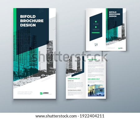 Bi fold brochure or flyer design with circle. Creative concept flyer or brochure. Template is white with a place for photos.