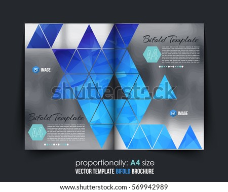 bifold brochure template design with abstract shape magazine co