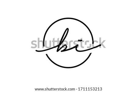 bi or ib and b, i Lowercase Cursive Letter Initial Logo Design, Vector Template Foto stock ©