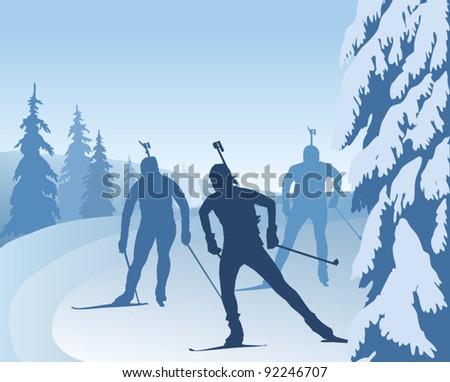 Biathlon runners, vector illustration, silhouettes