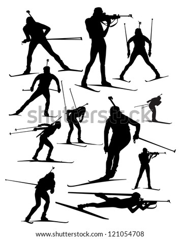 biathlon  vector  silhouette set - stock vector