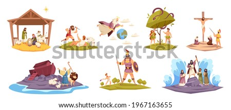 Bible characters. Ancient sacred cult book characters, holy book key scenes, Christ birth in manger, virgin Mary, world flood, Adam and Eve in garden of paradise, Cain and Abel vector set Stock photo ©