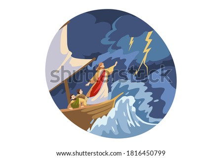 Bible, christianity, religion, protection concept. Jesus Christ son of God biblical religious character protecting ship with sailors from storm lightning thunder waves. Divine support illustration.