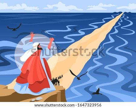 Bible narratives about Moses miracle. Christian bible character. Scripture history.Moses splitting the red sea and ordering let Jewish people go out of Egypt. Vector illustration Stock fotó ©
