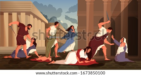 Bible narratives about the Massacre of the Innocents. Herod, king of Judea, order the execution of all male children two years old in Bethlehem. Christian bible character. Vector illustration