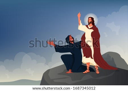 Bible narratives about the Temptation of Jesus Christ. Jesus was tempted by the devil for 40 days and nights in the Judaean Desert. Christian bible character. Vector illustration Stockfoto ©