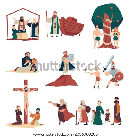 Bible narratives and religious moral stories set, flat vector illustration isolated on white background. Biblical tales including life of Christ and old prophets. Photo stock ©