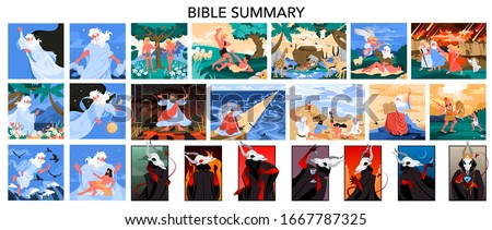 Bible narratives and seven deadly sins set. Adam and Eve, Noeh and Moses, David and Goliath. Anger, envy, lust and glottony. Pride, sloth and avarice. Christian bible character. Vector illustration. Foto stock ©
