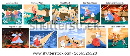 Bible narratives set. Adam and Eve, Noeh and Moses, David and Goliath. Christian bible character. Scripture history. Vector illustration. Foto stock ©