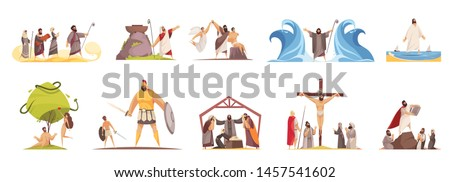 Bible narratives set of isolated doodle compositions with legendary characters and iconographic scenes on blank background vector illustration Foto stock ©