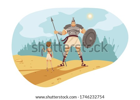 Bible, religion, christianity concept. Old Testament biblical Genesis religious series. Fight struggle of young fighter David with sling against giant philistine warrior Goliath with spear and shield.