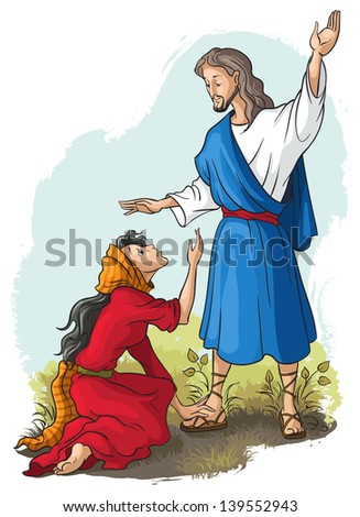Bible stories Jesus to Mary of Magdalene Christian vector art illustration Also available raster version