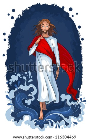 Bible story of Jesus walking on water. Christian background. The vector art illustration. Also available raster version