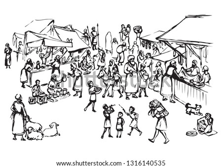 Biblical hebrew religion vendors kasbah women scene. Orient heritage Omani view. Antique fes pottery souq on white background. Saudi rabat bazar quarter picture sketch in vector iraq art graphic style