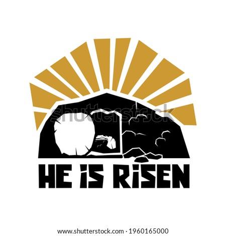Biblical illustration. Christian art. He is risen. Stock fotó ©