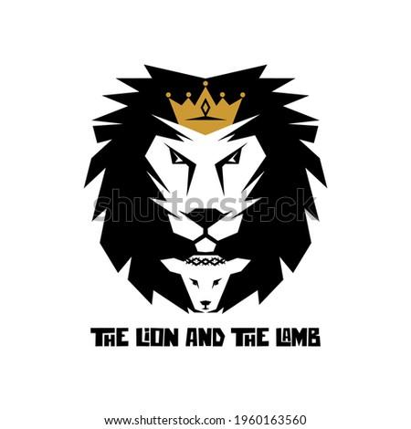 Biblical illustration. Christian art. The lion and the lamb. Stock fotó ©