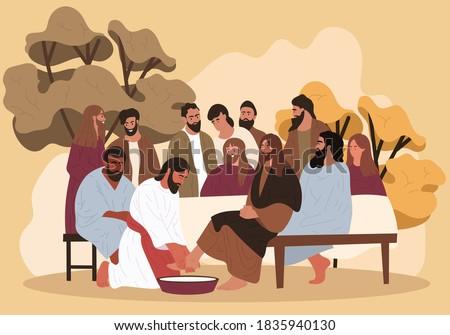 Biblical scene. Jesus washes the feet of the apostles. Flat cartoon vector illustration. Stock photo ©