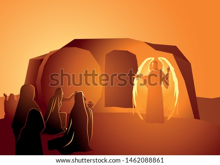 Biblical vector illustration series, Angel appeared at Jesus' tomb.