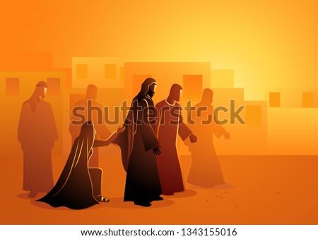 Biblical vector illustration series. Jesus heals the bleeding woman