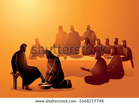 Biblical vector illustration series, Jesus washing apostles feet