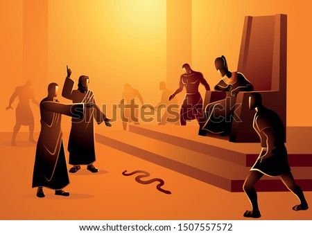 Biblical vector illustration series, Moses and Aaron went to Pharaoh and did what the Lord had commanded them. Aaron threw down his staff before Pharaoh and his officials, and it became a serpent Stock fotó ©