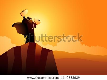 Biblical vector illustration series, Moses and Ten Commandments Stock fotó ©