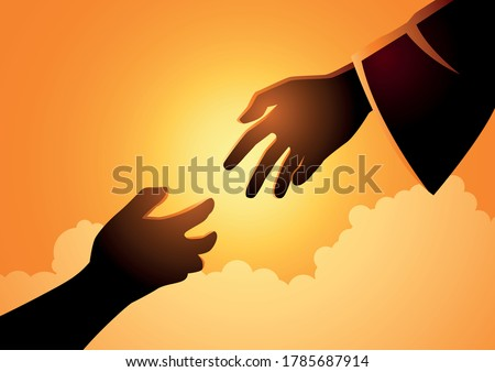 Biblical vector illustration series of God hand reaching out for human hand. Hope, help, God mercy concept Foto d'archivio ©