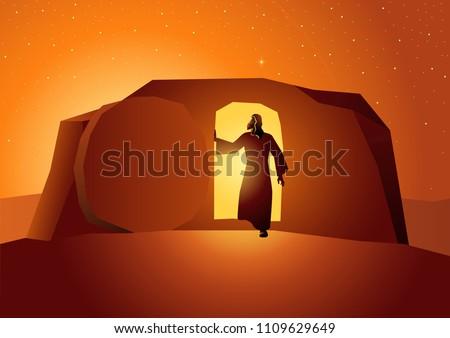 Biblical vector illustration series, the resurrection of Jesus or resurrection of Christ