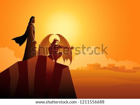 Biblical vector illustration series, the temptation of Jesus Christ Stockfoto ©