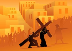 Biblical vector illustration series. Way of the Cross or Stations of the Cross, fifth station, Simon of Cyrene helps Jesus carry his cross.