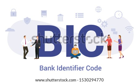 bic bank identifier code concept with big word or text and team people with modern flat style - vector