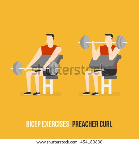 Bicep Exercises. Preacher Curl. Flat Design Bodybuilder Character Lifting Dumbbell.