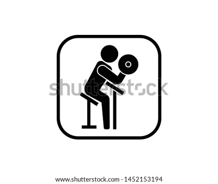 Biceps curl in glyph style icon. Biceps training activities using barbells at the fitness center. Gym simbol image.- vector EPS 10