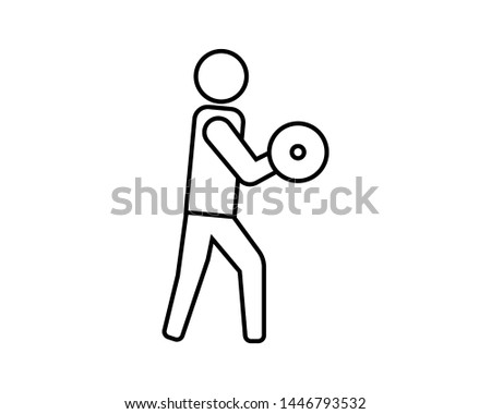 Biceps curl in line style icon. Biceps training activities using barbells at the fitness center. Gym simbol image.- vector - EPS 10