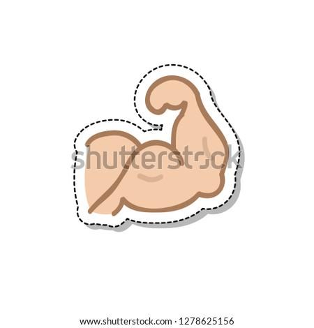 biceps doodle sticker icon