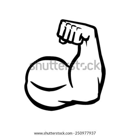 Biceps Flex Arm Vector Icon, Muscular Bodybuilder Pose