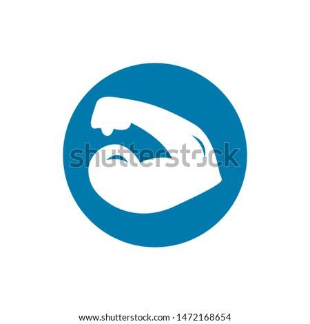 Biceps man symbol strength icon musle exercise gym logo