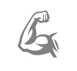 Biceps muscle arm logo, gray vector illustration