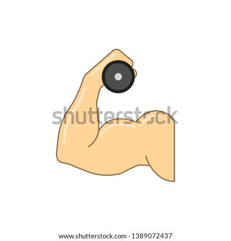 Biceps vector illustration. Biceps arm holding dumbbell. Isolated.