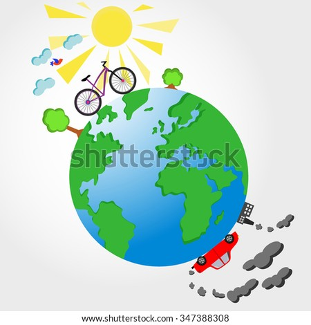 bicycle and car on planet earth