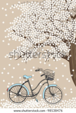 Bicycle and white blooming tree