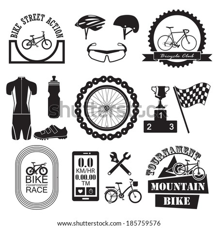 bicycle banner and icons set