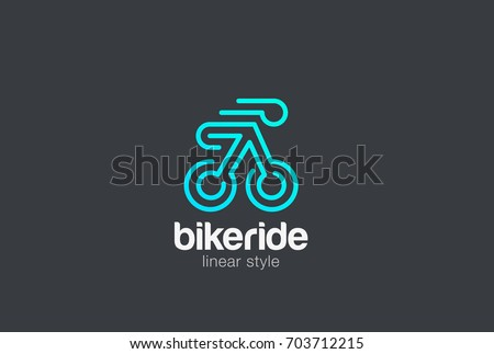 Bicycle Bike Rider Logo design vector template Linear style. Creative Riding Sport Logotype concept icon.