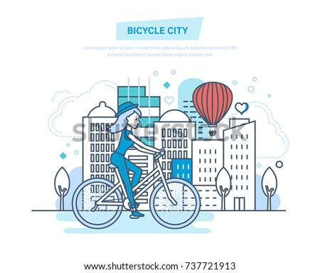 bicycle city young girl rides