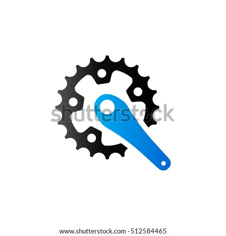 bicycle crank set icon in duo