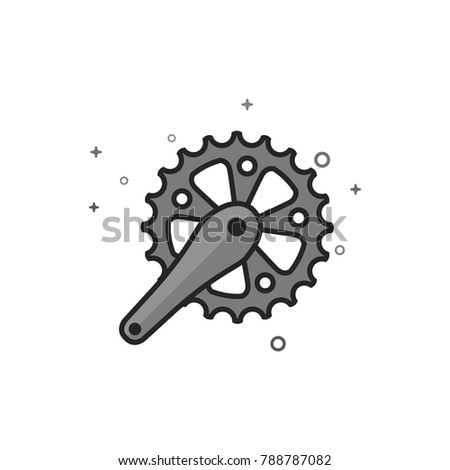 bicycle crank set icon in flat
